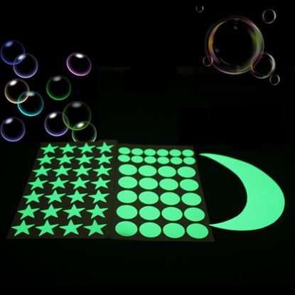 Picture of Glow in the Dark Stars moon Wall Stickers Green Luminous Light Switch Sticker for Kids Room Ceiling Decoration Home Decor